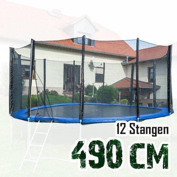 Sicherheitsnetz für 490cm Trampolin, ohne Pfosten für 12 Stangen