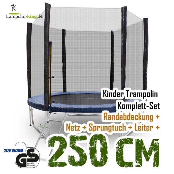 Trampolin 250cm mit Sicherheitsnetz, Randabdeckung, Leiter
