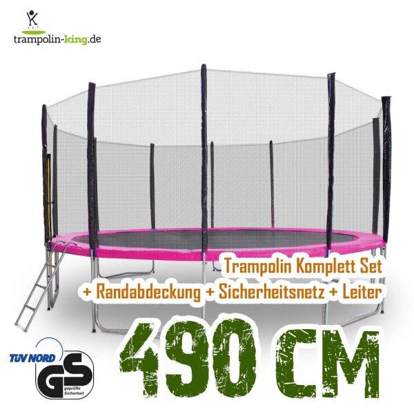 Trampolin 490cm Randabdeckung Pink