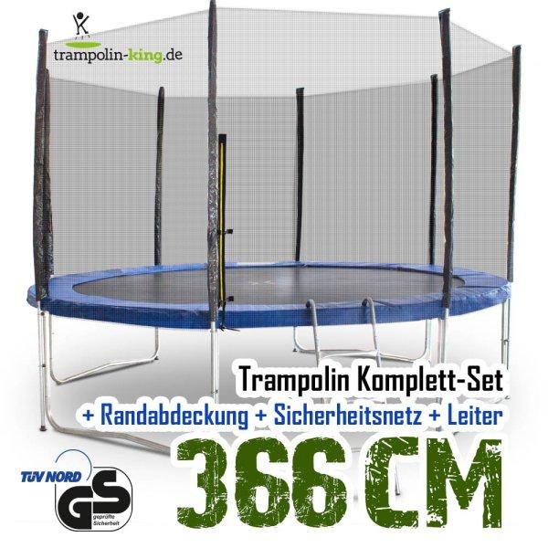 Trampolin 370cm Modell 2019 mit Sicherheitsnetz, Randabdeckung, Leiter