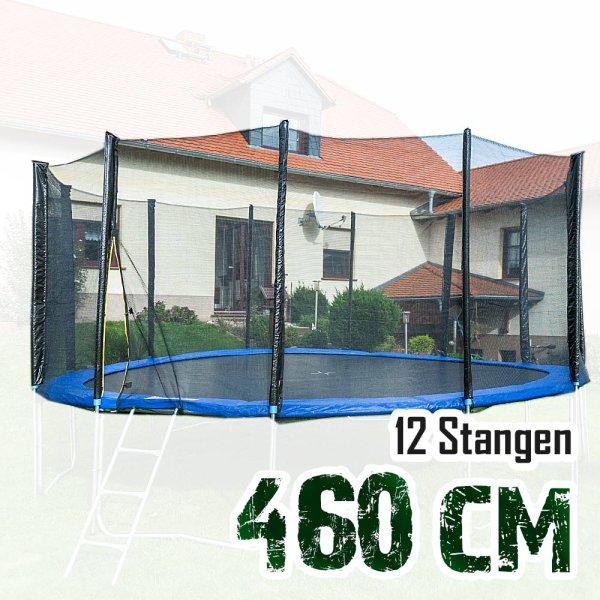 Sicherheitsnetz für 460cm Trampolin, ohne Pfosten für 12 Stangen