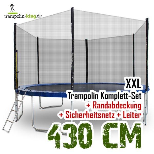 Trampolin 430cm mit Sicherheitsnetz, Randabdeckung, Leiter