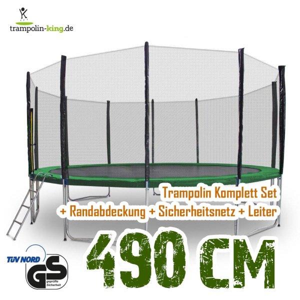 Trampolin 490cm Randabdeckung Dunkelgrün