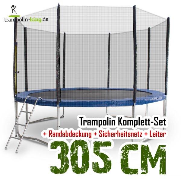 Trampolin 305cm mit Sicherheitsnetz, Randabdeckung, Leiter
