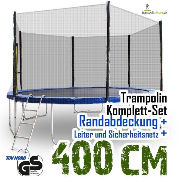 Trampolin 400 mit Netz, Randabdeckung, Leiter
