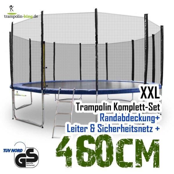 Trampolin 460cm mit Sicherheitsnetz, Randabdeckung, Leiter
