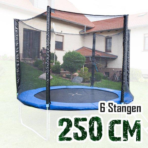 Sicherheitsnetz für 250cm Trampolin, ohne Pfosten für 6 Stangen (165cm hoch)