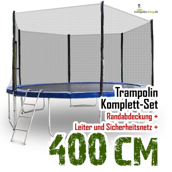Trampolin 400cm mit Sicherheitsnetz, Randabdeckung, Leiter
